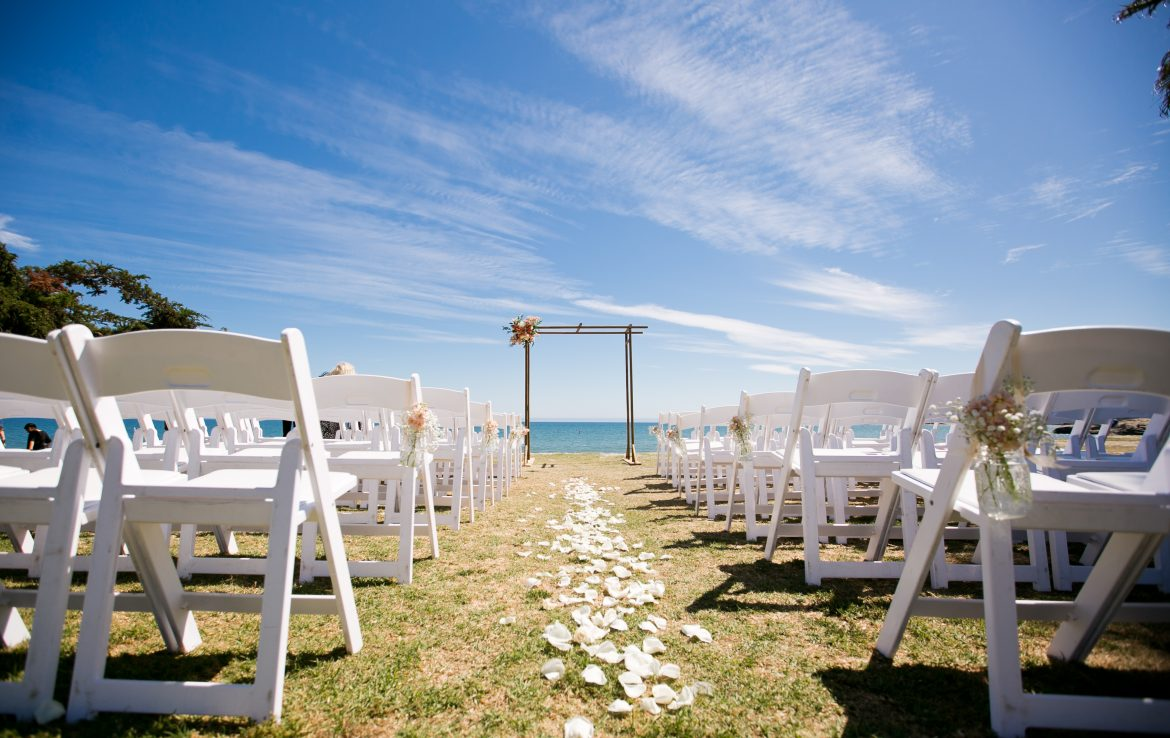 Blue Skies at a beachy ceremony