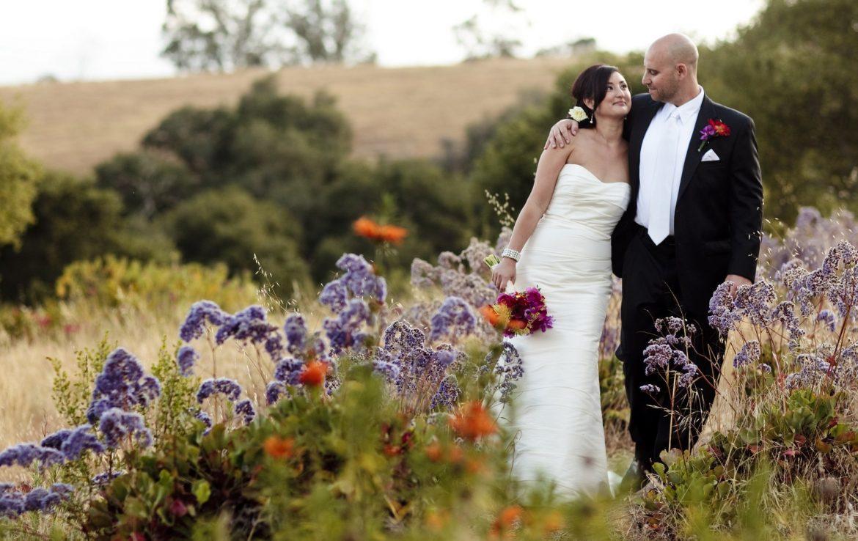 Newly Married Couple in Garden