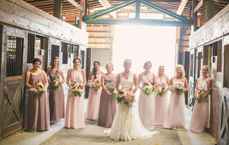 Bridesmaids in Barn