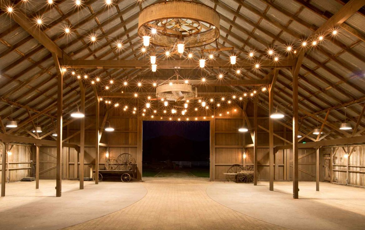 White Barn Lined with Lights
